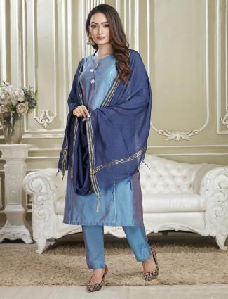 Festive wear sky blue punjabi suit in cotton fabric