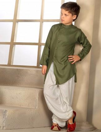 Festive wear solid olive kurta suit