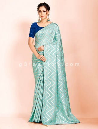 Festive wear teal green dola silk leheriya saree
