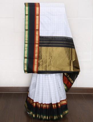 Festive wear white color kanjivaram silk saree