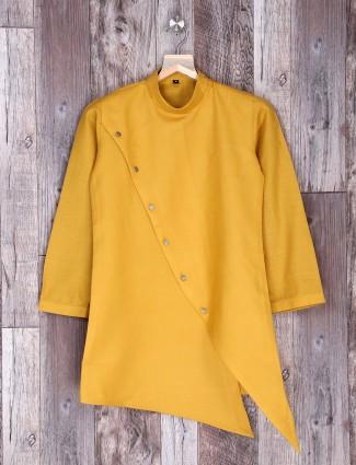 Festive wear yellow color cotton kurta suit