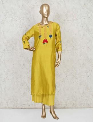 Festive wear yellow cotton silk palazzo suit