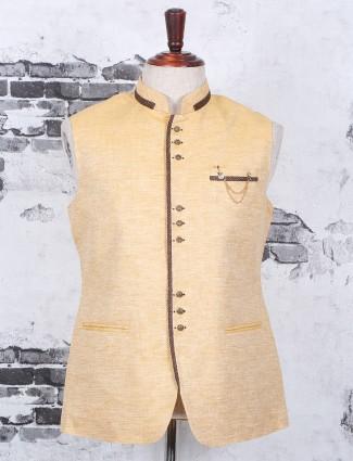 Festive wear yellow waistcoat