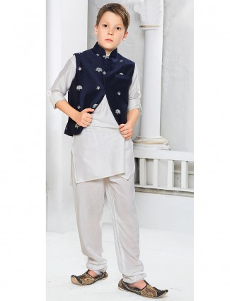 Festive off white color waistcoat set