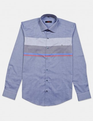 Fete blue color slim fit stripe shirt