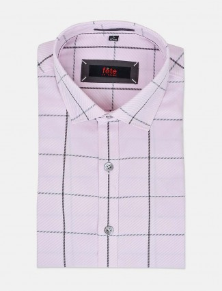 Fete formal wear baby pink checks shirt