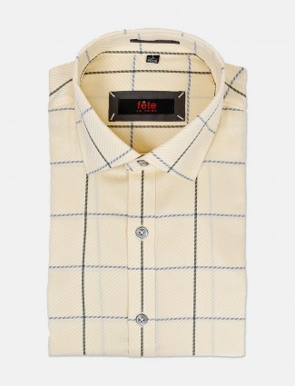 Fete light yellow checks cotton shirt