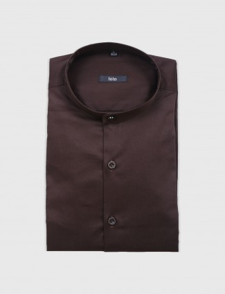 Fete plain brown hue shirt