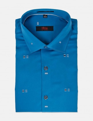 Fete royal blue solid zitter design shirt