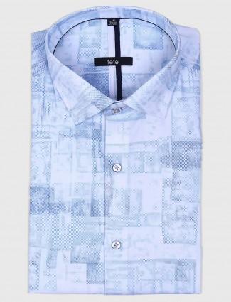 Fete sky blue printed formal shirt