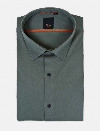 Fete solid dark green cotton shirt