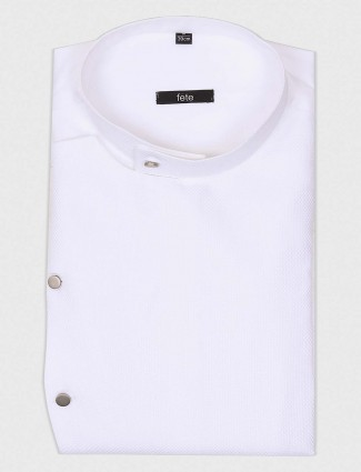 Fete solid white hue party wear shirt