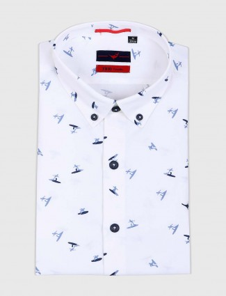 Fete white printed formal wear shirt