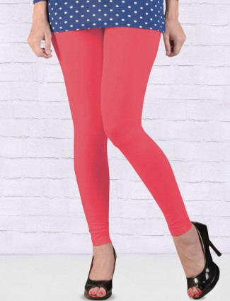 Go Colors bright pink comfortable ankal length leggings