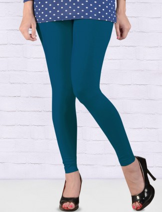 FFU rama blue cotton ankal length leggings