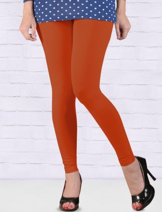 FFU red colored solid pattern ankal length leggings