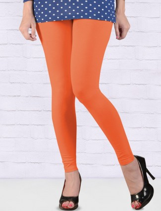 FFU simple orange hue ankal length leggings