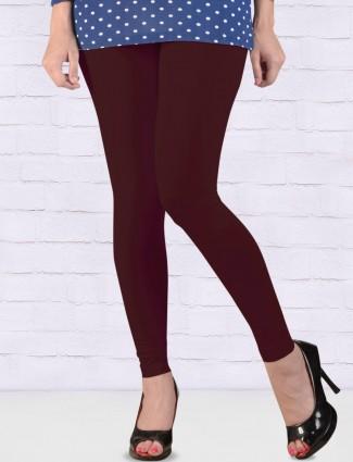 FFU wine hue cotton ankal length leggings