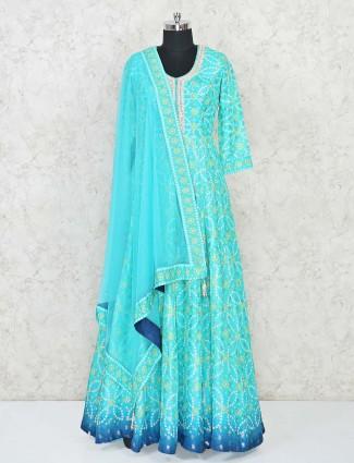 Floor length Anarkali aqua blue salwar suit in bandhej
