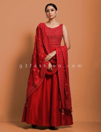 Floor length anarkali suit in red raw silk