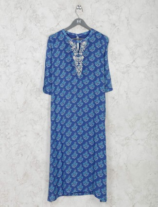 Floral printed blue kurti in cotton
