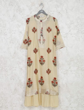 Floral printed cotton kurti in lime yellow color