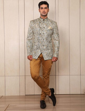 Flower printed cream color jodhpuri suit