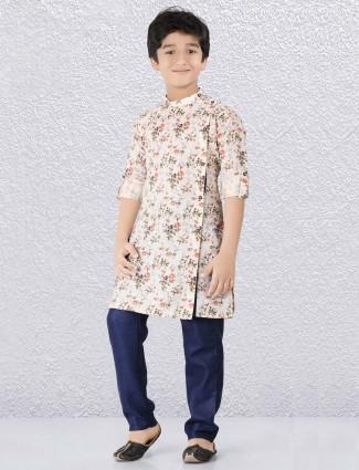 Flower printed cream hued kurta suit