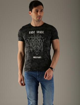 Flying Machine black printed casual t-shirt