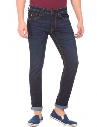 Flying Machine blue solid jeans