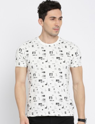 Flying Machine white printed casual t-shirt