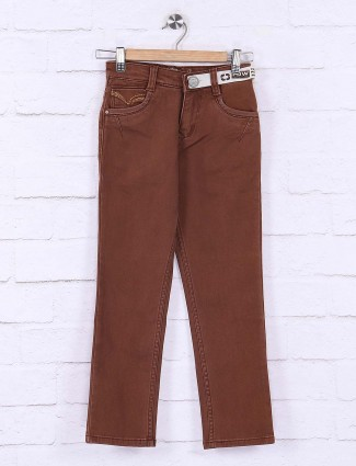 Forway casual wear solid brown jeans