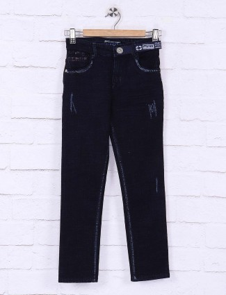 Forway dark navy solid casual jeans