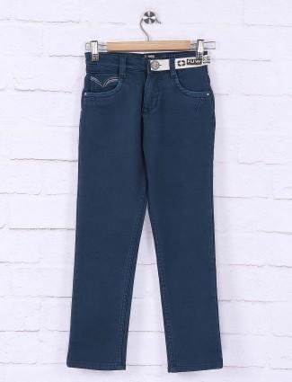 Forway denim blue solid slim fit jeans