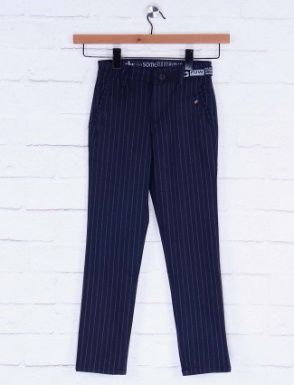 Forway navy hued stripe cotton trouser