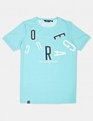 Freeze aqua printed cotton t-shirt