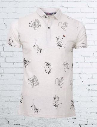 Freeze beige printed cotton t-shirt