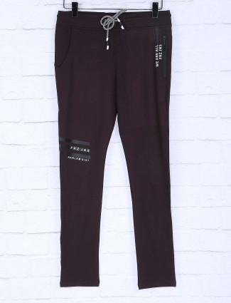 Freeze brown solid mens cotton track pant