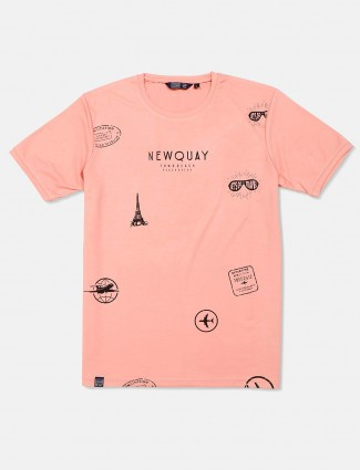 Freeze casual wear printed peach t-shirt