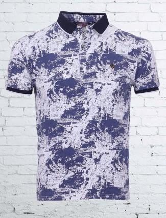 Freeze cotton printed blue t-shirt