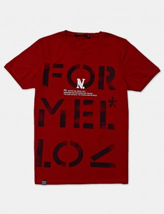 Freeze half sleeves maroon printed t-shirt