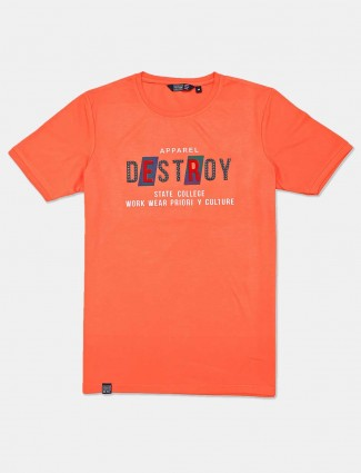 Freeze orange printed cotton mens t-shirt