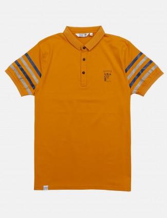 Freeze orange solid polo neck t-shirt