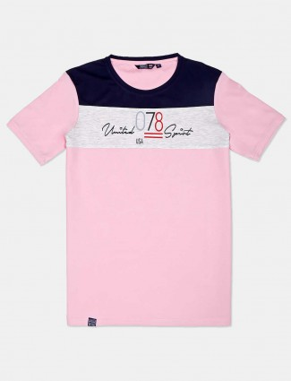 Freeze printed casual wear pink t-shirt