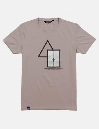 Freeze printed grey cotton t-shirt