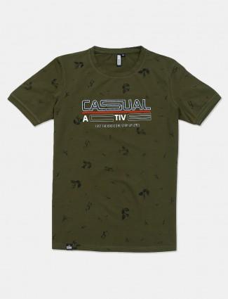 Freeze printed olive cotton mens t-shirt