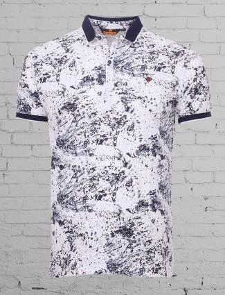 Freeze printed white cotton t-shirt