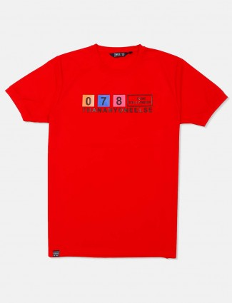 Freeze red printed round neck t-shirt