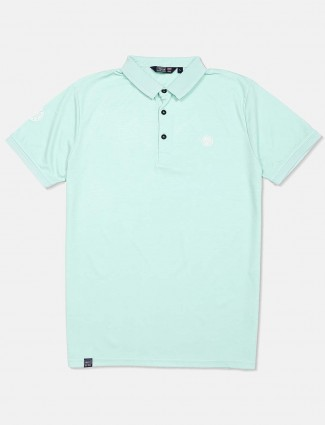 Freeze sea green solid half sleeves t-shirt