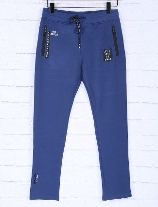 Freeze solid blue cotton fabric track pant